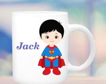 super hero cup #2 for boys, boys hero mug, super hero mug, cup for a boy, personalized boys mug, customized boys mug, hero figure for boys