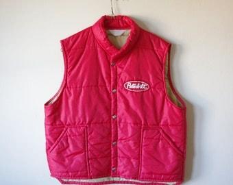 Vintage Peterbilt Vest Jacket - Puffer Vest - Red - Size L
