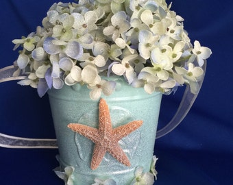 flower girl basket with starfish for a beach themed wedding/destination wedding placid blue and pale yellow flower girl basket