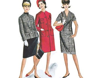 1963 Vintage V-neck Sheath Dress, Coat or Jacket with Notch Front Detail & Patch Pockets, Shaped Scarf, McCall's 7164, Size 16, Bust 36""
