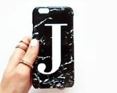 Black Marble single initial phone case - iPhone 7, iPhone 7 PLUS, SE 5/5s 5C 6Plus Samsung galaxy S5 S6 S7