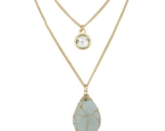 Gold tone Mint Green Water Drop Stone Double Chain Crystal Necklace, A17