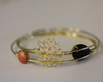 Bohimian Lotus Bangle Set- Gold Bangles- Burnt Orange- Black Opal Bangle- Flower Bloom Bangle- Circles-Bridesmaids Gifts- Bracelet Sets