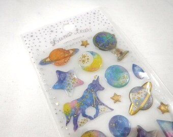 Kawaii Japan Sticker Sheet Assort Epoxy Glitter Drop Lunar Tears: CONSTELLATION PLANET Zodiac Sign Star Moon Saturn Ringed Deep Blue Cat