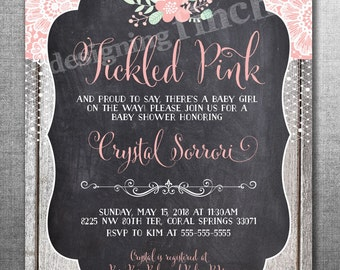 Baby Shower Invitation Rustic Lace Tickled Pink, Customizable, Printable #153