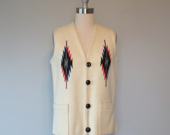 Ortega's hand woven wool chimayo vest size small - large