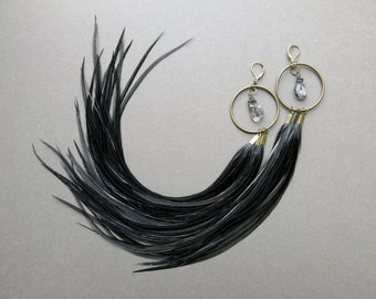 Black Feather Earrings - Tribal Hoop Earrings - Pagan Feather Hoops - Extra Long Earrings - Long Feather Earrings - Large Hoop Earrings