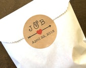"""Wedding favor labels, personalized stickers.  2"""" round stickers, set of 20, initials with arrow and heart.  Matte white or Kraft brown."""