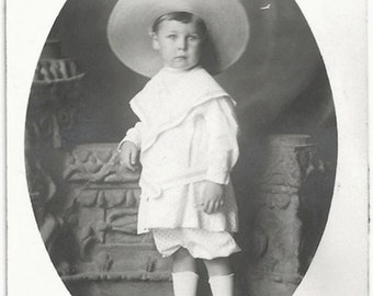 Old Photo Postcard Little Boy Dressed Up Hat 1910s Photograph snapshot vintage Azo Rppc Polka Dot Fabric