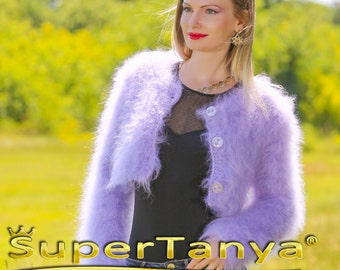 Boutique Hand knitted fuzzy mohair sweater bolero in purple by SuperTanya