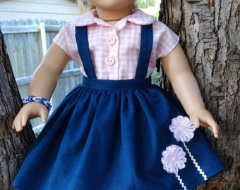 "RESERVED LISTING 18"" Doll Clothes Historical 1950's Style Blouse and Jumper Fits American Girl Maryellen"