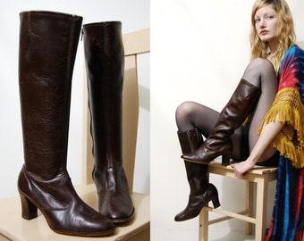 Knee High BOOTS 70s Vintage LEATHER Bohemian Boho Hippie Gogo Dark Brown Heel Shoes 1970s vtg Womens 6 B
