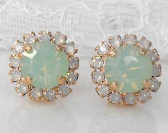 Mint Stud Earrings Petite Rose Gold Mint White Opal Mint Wedding Seafoam Green Mint Bridesmaids Mint Swarovski Crystal Mint Bridal Earrings