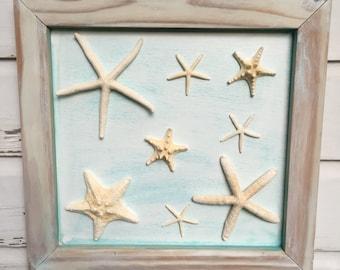 Starfish Framed Art/Reclaimed Wood Wall Art/Beach House Decor