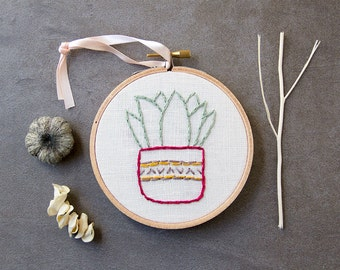Cactus Embroidery, Hoop Art, Hand Stitched Embroidery, Succulent Plant Embroidered Art, Potted Plant, Modern Southwest Decor, Southwestern