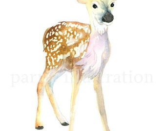 Fawn No. 1, Archival Print of original watercolor, You choose size