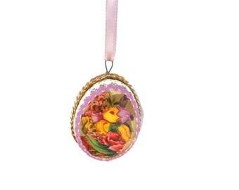 Vintage Easter Decoration - Egg Diorama - Easter Egg Diorama - Easter Chick Decoration - Easter Egg Ornament - Free Shipping - 2HM16