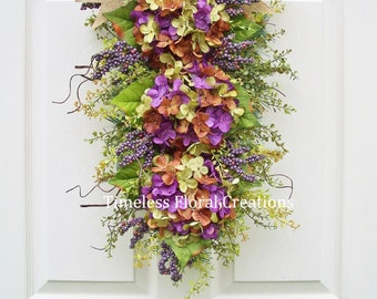 "Fall~Hydrangea Wreath Swag~Front door~""Parisian Purple"",Winter, Spring, Summer, Fall, Door Swag in Several Colors~Timeless Floral Creations"