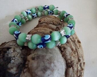 evil eye green moonstone  memory wire  bracelet