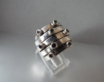 sterling silver stacking ring set gemstones  cigar band ring size 7, 7.5