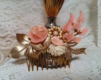 PEACH APRICOT BRIDAL Vintage Hair Comb Assemblage Bride Gold Floral Wedding Collage One Of A Kind Mother of the Bride Cream Soft Coral