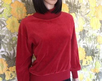 Velma - turtleneck sweater - velour sweater - dusky blood orange sweater - 70's turtleneck - ribbed turtleneck - cozy sweater - size small