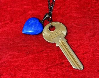 TARDIS Love #1 - TARDIS Key Necklace (Silver Chain)