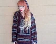Mexican Blanket Wool Knit Oversized Southwest Aztec Baja Surfer Pullover Hoodie Jacket // Unisex Men's Women's