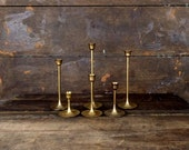 Vintage brass taper candlesticks/brass candle holders/skinny candlesticks/set of 6