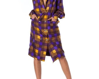 1980s Louis Feraud Couture Plaid Double Breasted Silk Jacket SIZE: L, 12