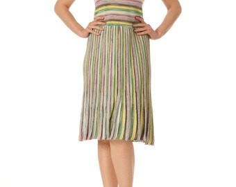 1980s Missoni Multicolor Striped Pleated Knit Dress SIZE: S, 2