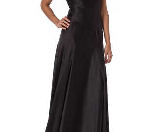 1990s Carmen Marc Valvo Silk Bias Cut Black Strap Gown