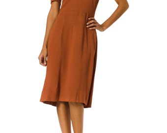 1940s Crepe Brown Short Sleeve Day Dress SIZE: S, 6