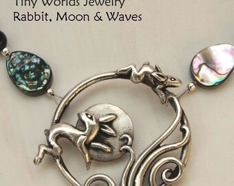 Silver Necklace:  Rabbit, Moon & Waves