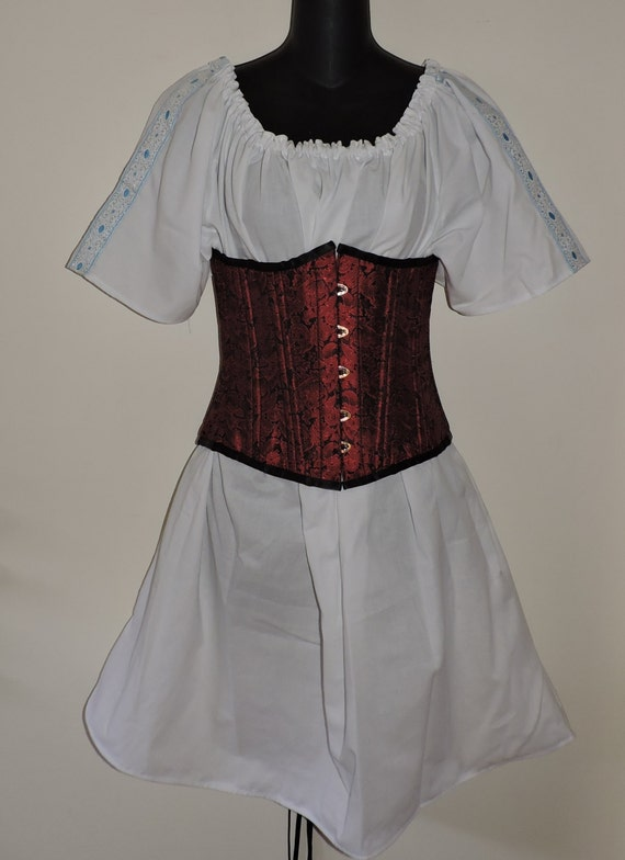 RTS white ladies half length medieval short sleeve chemise with trim renaissance shirt Pirate top ready to ship