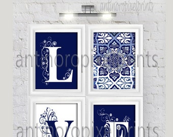 Art Navy White Love Letters Ikat Wall Art Modern Inspired -Set of (4) - 8x10 Prints (UNFRAMED) #280368020
