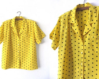 Bright Yellow Polka Dots Blouse - Open Collar Pop Art Minimal Patterned 90s Short Sleeve Button Down Shirt - Womens Medium / Large