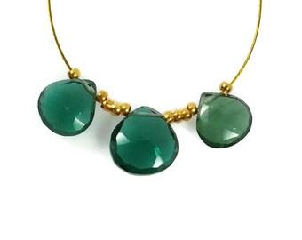 Dark Emerald Green Quartz Heart Briolette Faceted Beads, 9-10mm, Forest Green Beads, Hunter Green Gemstones