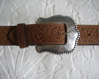 Western belt buckle 32'' with hand tooled 100% leather belt