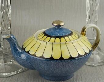 Victoria China Small Blue and Yellow Tea Pot TeaPot Czechoslovakia Made