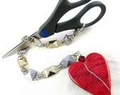 Scissors Fob, Red Heart, Silver and Gold Box Chain, FREE SCISSORS, Sewing Tools, Needlecraft, Gift Under 20