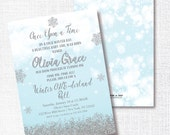 ONCE UPON A time winter onederland birthday invitation Winter One-derland ball invitation robin's egg blue aqua silver glitter snowflake 1st