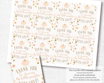 ORANGE LITTLE PUMPKIN gender neutral fall baby shower square favor tag thank you sticker instant digital download diy printable file