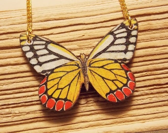 Orange and White Wooden Butterfly Necklace