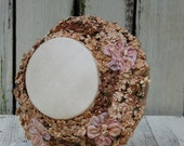 Reserve for Vivian only please.Vintage Floral Hat. Easter hat. vintage fashion hat. Canvas floral hat. Tan pink brown floral hat