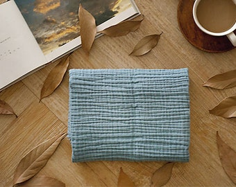 Wrinkled Cotton Gauze, Triple Layers, Crinkle Gauze, Yoryu Gauze - Blue - 57 Inches Wide - By the Yard 89627 - 280