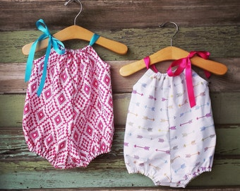 Boho Bubble Romper, Arrows, navajo, aztec, sunsuit, Summer baby clothes, girls, cake smash outfit, bohemian, coming home outfit, hot pink