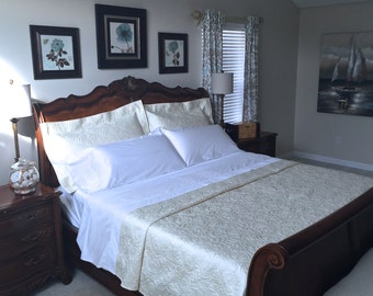 Twin Size Whole Cloth Quilt Twin Bed Lap Quilt Ivory White