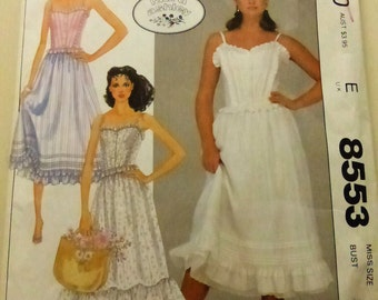 Vintage McCall's Pattern 8553 Laura Ashley Camisole, Skirt and Petticoat  Misses Size 10