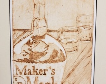 Southern Hospitality: Hand carved and inked collagraph print of Kentucky's Maker's Mark Bourbon and glasses on a rustic wooden table